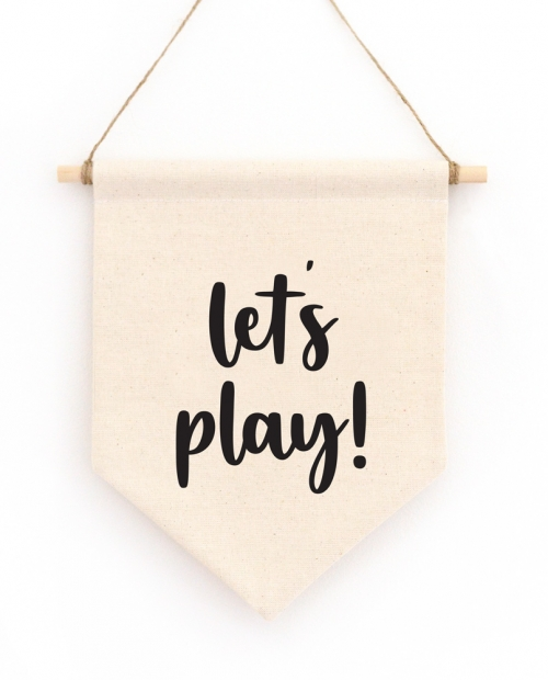 Let's Play Hanging Wall Banner